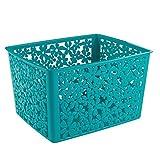 Interdesign 59237EU Blumz Panier de Rangement pour Cuisine/Salle de Bain de Bureau/Garage Plastique Turquoise 25,4 x 19,4 x 14 cm