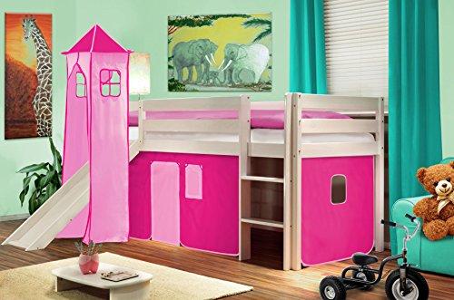 Hochbett Kinderbett Spielbett mit Turm und Rutsche Massiv Kiefer Weiß - Pink - SHB/15/1032