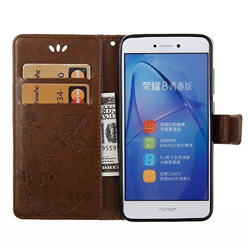 Solid Color Faux Leder Bookstyle Brieftasche Stand Case mit geprägten Blumen & Lanyard & Card Slots für Huawei P8 Lite 2017 und P9 LITE 2017 ( Color : Red ) Brown