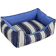 Songmics Cama para perros 60 x 45x 21 cm mascotas Impermeable Desenfundable Diseño rayado Azul PGW21B
