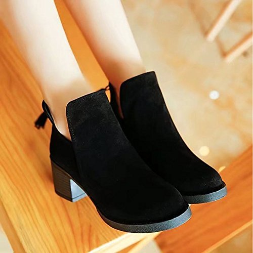 Stivali Casual marrone Chunky punta inverno tonda moda nero donna scarponi tallone Scarpe Stivali Calf pu HSXZ Black Mid per 1nRqXAxaZ