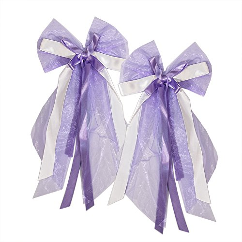 20 Autoschleifen Hochzeit, Antennenschleifen Weiß Lila für die Autodeko, Autoschmuck für das Hochzeitsauto im Set