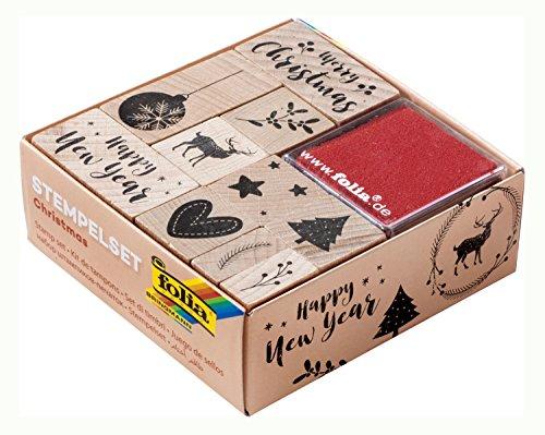 folia 31108 - Holzstempelset Christmas, inklusive 10 Holzstempel und 2 Stempelkissen - ideal zum Verzieren von Karten, Freundschaftsbüchern, für Lettering und Scrapbooking