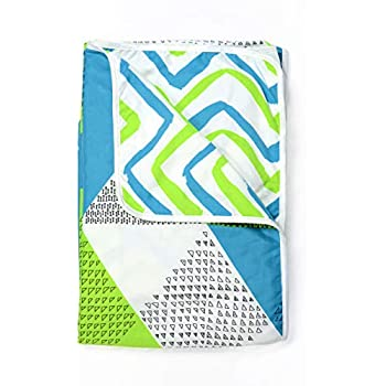 Divine Casa Microfibre Reversible Blanket/Duvet Easyweight, AC Single DOHAR, Blue - Geometric