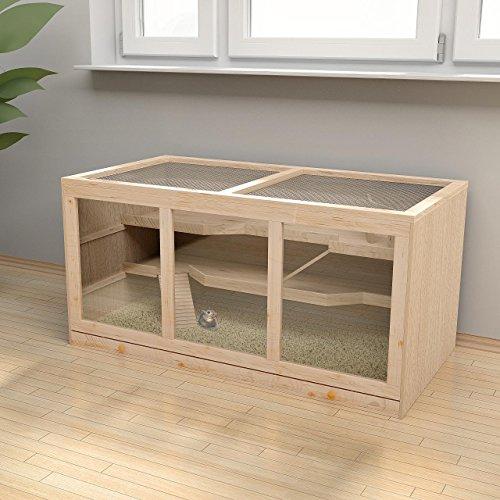 Großer Nagerkäfig Hamsterkäfig Mäusekäfig Chinchillakäfig Nagervilla, ca. 116 x 61 x 56 cm, inklusive Zubehör, Holz - 2