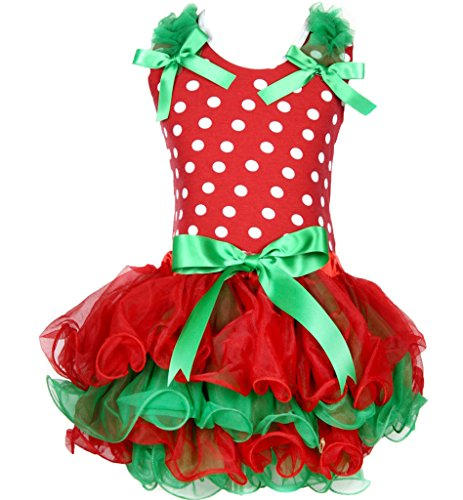 White Polka Dot Shirt Red Green 4 Layer Petal Skirt Set 1-8y (4-5jahr) ()