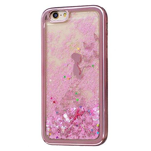 Coque iPhone 6S , Glitter Liquide TPU Etui Coque pour iPhone 6 ,CaseLover Papillon et Fleur Motif Mode Etui Coque Dynamic Etoiles Paillettes Sable TPU Slim pour Apple iPhone 6S / 6 (4.7 pouces) Mode F Fille