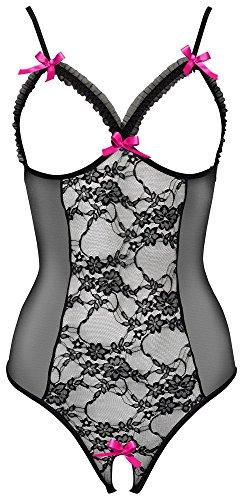 Orion Body - ouvert Reizwäsche mit schwarzer Spitze, verführerischer Bodysuit mit rosa Schleife und Öffnung im Schritt, busenfrei und rückenfrei