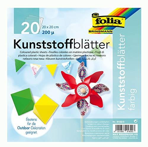folia 9160/0 - Kunststoff Faltblätter, 20 x 20 cm, 200 µ, 20 Blatt, sortiert in 5 Farben - ideal für das Basteln von Windrädern -
