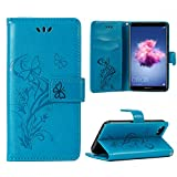 OFU Für Huawei Y5 2018 Huawei Honor 7S Handyhülle/hülle,PU Schutz erweiterte Handy-Shell,mit Integrierten Kartensteckplätzen und Ständer(Blau)