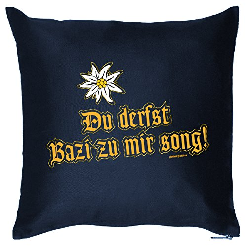 Mega geile Geschenksidee cooles Dekokissen mit Aufdruck für Bayern Fans - Du derfst Bazi zu mir song! Bayerische Mundart Tracht Trachten Boarisch Motive