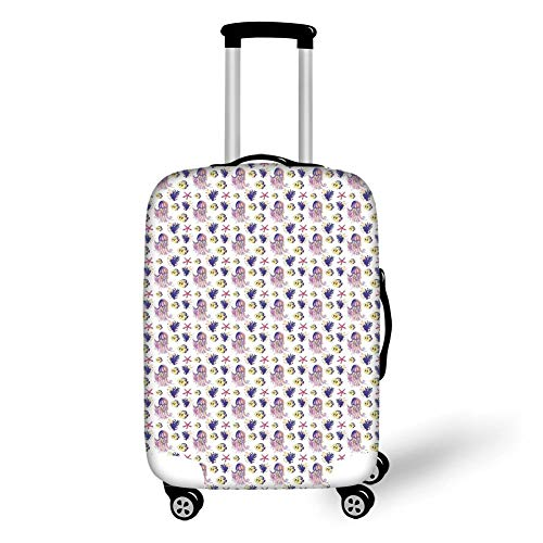 Travel Luggage Cover Suitcase Protector,Jellyfish,Aquarium Nature Underwater Life Colorful Illustration with Jellyfish Starfish Coral,Yellow Purple,for TravelXL 29.9x39.7Inch - Aquarium Kit Net