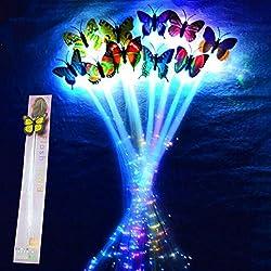 Luces para el Cabello, Fascigirl 12pcs Pelo LED Trenzas Trenzadas Barrettes Horquilla de Mariposa para Artículos de Fiesta
