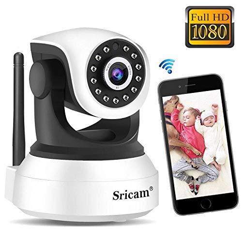 Cámara IP 1080P Sricam SP017, Cámara WiFi Vigilancia Bebe Interior HD Inalámbrica con Visión Nocturna, Audio Bidireccional, Detección de Movimiento, Compatible con iOS Android Windows PC
