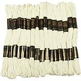 25 piezas de algodón blanco de rosca Madeja Cruz Bordado Costura puntada de aguja Floss
