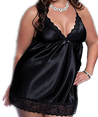 Seawhisper Women's Sexy Lingerie Baby Dolls Satin Lace Mini Dress Nightdress Chemise Plus Size