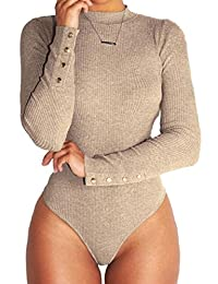 juqilu Body da Donna Sexy Slim Fit Leotard a Maniche Lunghe Comodo Stretch Camicia Inverno Autunno Casuale Jumpsuits Tops