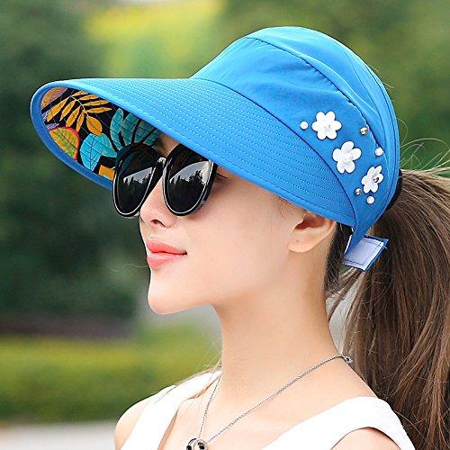 Columbia Womens Visor (GAOQIANGFENG Hat weibliche Outdoor Sonnenschirm Sommer Cap Reiten Sport Cap Anti UV-Sonnenschutz leer Top Sun Cap, verstellbar, Perlen zu Falten - Treasure Blau)