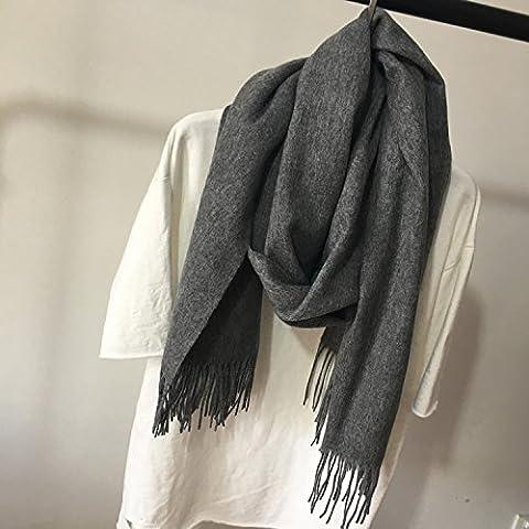 Unisex autunno e inverno caldo misto di lana spessa lungo paragrafo acqua grandi ondulazioni nappe sciarpa scialle , middle gray