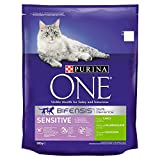 Purina ONE Sensitive Dry Cat Food Turkey and Rice 800g - Case of 4 (3.2kg)