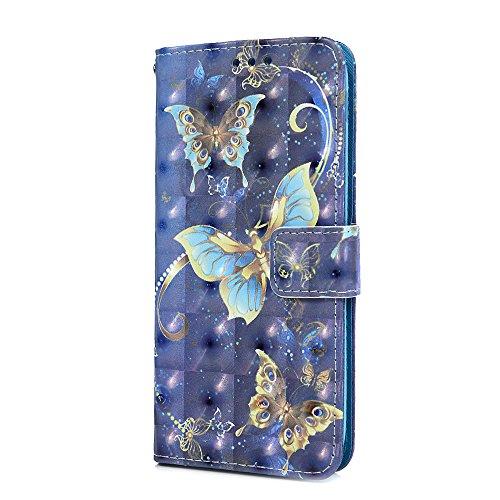 Funda para Samsung Galaxy J5 2017, funda de piel sintética con tapa 3D con función atril magnético para tarjeta de identificación, funda protectora de TPU para Samsung Galaxy J5, Gold Butterfly