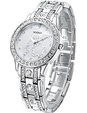 NUOVO Damen Armbanduhr Edelstahl Armband Quarz Analog Diamond Kristall Silber Lünette Wasserdicht