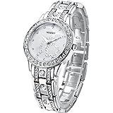 NUOVO Damen Uhr Analog Quarz mit Silber Edelstahl Armband Wasserdicht Kristall Lünette K149018L-S