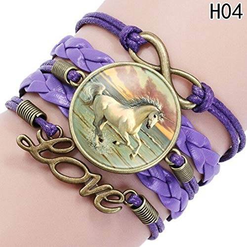 IJEWALRY Damenarmband Armbänder Armband,Elegantes Feines Nettes Einhorn-Armband Handgemachte Unendlichkeits-Liebes-Leder-Charme-Armbänder Für Pferdeliebhaber-Bestes Freund-Geschenk