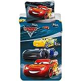 Juego de cama Cars Night Race Disney–Funda de edredón de algodón reversible cama individual