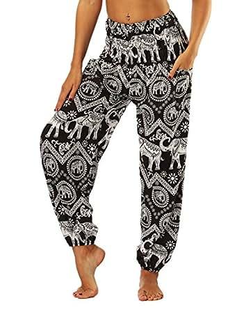 SEEU Womens Harem Trousers Long Pants Baggy Hareem Leggings Black Elephant(Size: One Size)