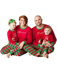 Hzjundasi Conjunto Pijamas Familia Navidad - Otoño Invierno Navidad Letras Impreso Ropa Familia Pijama Traje,Rojo/Verde