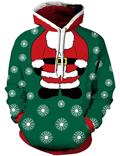 Ocean Plus Herren Kapuzenpullover Lebensecht 3D Grafik Hoodie mit Kängurutasche Pullover mit Kapuze Sweat Hood (L/XL (Brustumfang: 114-134CM), Santa ()