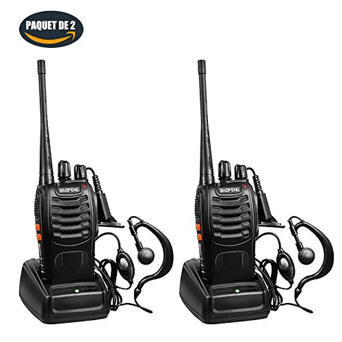 BAOFENG BF-888S Talkies Walkies UHF 400-470MHz 16 Canaux 2-Way Radio Longue Portée pour Chasse Profession Randonnée Loisir Camp, 2...