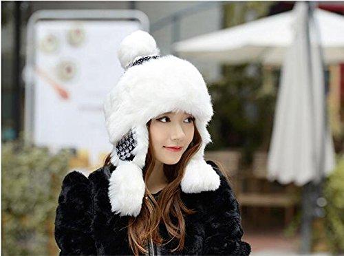 Mongolian Faux Fox Fur Winter Hat Women Trapper Russian Cossack Pompom