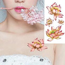 EROSPA® Tattoo-Bogen temporär - Aufkleber Blumen Motiv Seerose pink - 9 x 19 cm