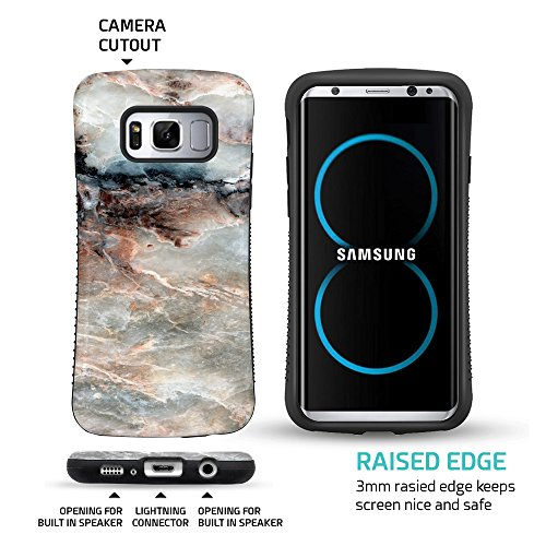 ZUSLAB Galaxy S8 Hülle, Hirsch Muster Schwerschutz Fallschutz Extrem Hoher Schutzhülle Weich Rand Robust Stoßfest handyhülle für Samsung Galaxy S8 [Face][Deer] Rosa Marble