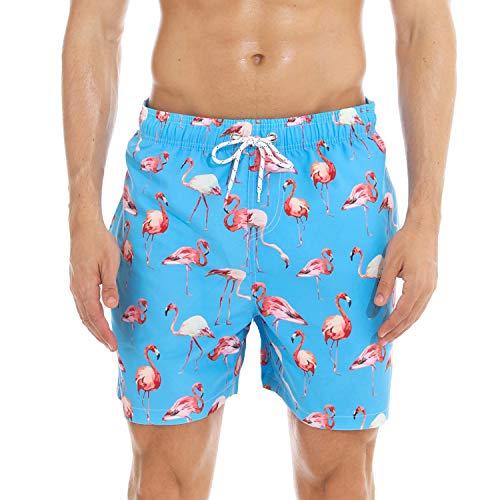 anqier Badeshorts für Männer Badehose für Herren Jungen Schnelltrocknend Schwimmhose Strand Shorts (Blauer Flamingo, XL(EU)-MarkeGröße:XXXL-Taille 98-106cm) -