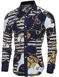 Versaces Los Hombres Camisa La Moda Clásico Retro Colorear Corte Ajustado Manga Larga La Camisa,