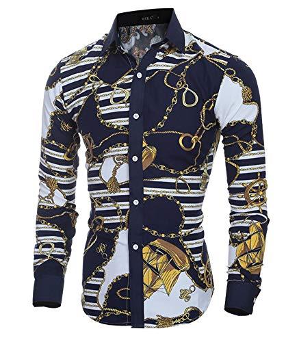 Versaces Hommes Chemise La Mode Classique Rétro Couleur Coupe Slim Manches Longues Chemise, Color 1, M