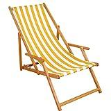 Liegestuhl gelb-weiß Gartenliege Sonnenliege Strandliege Holz Deckchair Gartenmöbel Buche 10-319N
