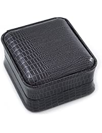Luxury Square Black Snake Pattern Leatherette Brooch/ Pendant/ Earrings Jewellery Box