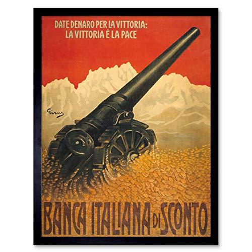 Wee Blue Coo LTD Propaganda War WWI Italy D Victory Loan Bond Cannon Art Print Framed Poster Wall Decor Kunstdruck Poster Wand-Dekor-12X16 Zoll -