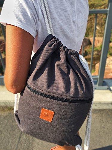 Original ♡ T-BAGS Thailand Turnbeutel Hipster | 18 coole Designs | mit Reißverschluss | Baumwoll Beutel mit hohem Tragekomfort (Grau) - 4