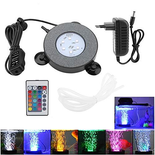 Luz del Tanque de Peces LED, Lámpara Sumergible Impermeable para Acuario LED Lámpara de luz Decorativa Fish Bowl Luz Control Remoto Lámpara subacuática Lámpara de Burbuja de Aire(EU Plug)