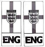 England Drei Löwen Nummernschild Aufkleber Aufkleber Badge Englisch St. George Flaggen schwarz & weiß 3D Kunstharz Gel Kuppel