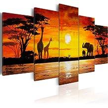 Cuadro en Lienzo 200x100 cm! 5 partes - Grande Formato - Impresion en calidad fotografica - Cuadro en lienzo tejido-no tejido - Africa 5730 200x100 cm B&D XXL