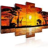 murando Bilder 200x100 cm - Leinwandbilder - Fertig Aufgespannt - Vlies Leinwand - 5 Teilig - Wandbilder XXL - Kunstdrucke - Wandbild - Afrika - wie gemalt 5730