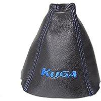 """""""Kuga azul bordado de piel auténtica para palanca de cambios, color negro"""