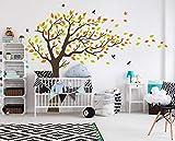 MAFENT Schöne der blätter Baum Wand Aufkleber orange und grüne blätter, die Sich im Wind Baum Wand Kunst Vinyl wandbild für kinderzimmer Wand Dekoration