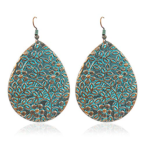 Schmuck Ohrringe,Jewelry Antique Carved Drop Earrings Ethnic Print Flower Branch Vine Bronze Bohemia Earrings Female Charm Vacation Fashion Jewelry